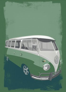 VW Type 2 camper van print available for purchase